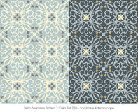 Retro Seamless Pattern 2 Color Set_086 Spiral Vine Kaleidoscope Royalty Free Stock Photos