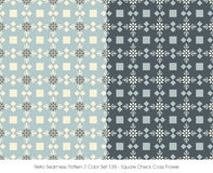 Retro Seamless Pattern 2 Color Set_138 Square Check Cross Flower Stock Photography
