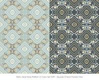 Retro Seamless Pattern 2 Color Set_049 Square Check Flower Vine Stock Image