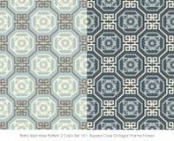 Retro Seamless Pattern 2 Color Set_151 Square Cross Octagon Fram Stock Image