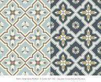 Retro Seamless Pattern 2 Color Set_152 Square Cross Round Flower Stock Image