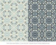 Retro Seamless Pattern 2 Color Set_048 Square Round Flower Kalei Royalty Free Stock Photo