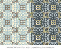 Retro Seamless Pattern 2 Color Set_098 Square Sawtooth Cross Kal Stock Photo