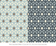 Retro Seamless Pattern 2 Color Set_270 Star Arrow Cross Geometry Stock Image