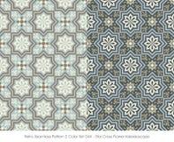 Retro Seamless Pattern 2 Color Set_044 Star Cross Flower Kaleidoscope Royalty Free Stock Photo