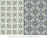 Retro Seamless Pattern 2 Color Set_083 Star Kaleidoscope Flower Royalty Free Stock Photography