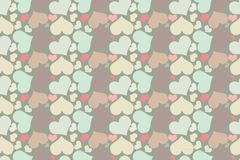 Retro seamless pattern with colorful hearts. Seamless pattern of hearts on a beige background Stock Photo