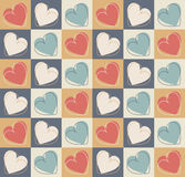 Retro seamless pattern with colorful hearts Royalty Free Stock Images