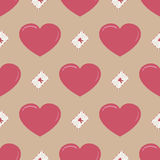 Retro seamless pattern with colorful hearts Stock Photo