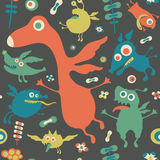 Retro seamless pattern with colorful monsters. Royalty Free Stock Photo