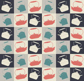 Retro seamless pattern with colorful teapots Royalty Free Stock Photos