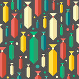 Retro seamless pattern with colorful ties and circles. Royalty Free Stock Image