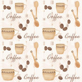 Retro seamless pattern with cup of coffe and spoon Royalty Free Stock Photography