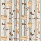 Retro seamless pattern with cup of coffe and spoon on striped Royalty Free Stock Photography