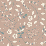 Retro seamless pattern with cute flowers, leaves and berries Royalty Free Stock Photography