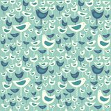 Retro seamless pattern of cute mid century modern birds. Spring seamless pattern of cute mid century modern birds on aqua blue. Cheerful retro design for fabric Stock Photos