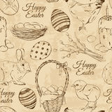 Retro seamless pattern of Easter symbols Royalty Free Stock Photo