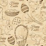 Retro seamless pattern of Easter symbols Royalty Free Stock Photo