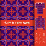 Retro seamless pattern with examples of usage. Royalty Free Stock Image