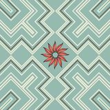 Retro seamless pattern with flower in blue, red, white and brown Stock Image