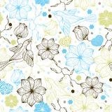 Retro seamless pattern with flowers and birds.  Stock Photography