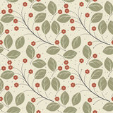 Retro seamless pattern with green leaves and red flowers Royalty Free Stock Photo