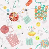 Retro seamless pattern with knitting accessories Stock Image