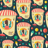 Retro seamless pattern with ice cream seller. Royalty Free Stock Images