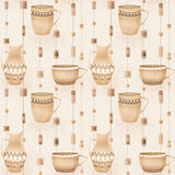 Retro seamless pattern with jug of milk and mug beige Royalty Free Stock Photo