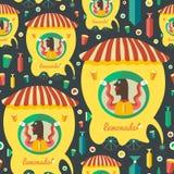 Retro seamless pattern with lemonade seller. Royalty Free Stock Photos
