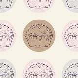 Retro seamless pattern with muffins Stock Image