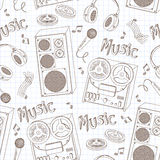 Retro seamless pattern of music equipment Royalty Free Stock Images