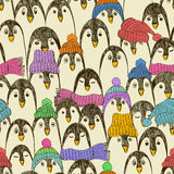 Retro Seamless Pattern With Penguins. Stock Photography