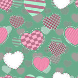 Retro seamless pattern. Pink hearts and dots on beige background Royalty Free Stock Photography