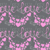 Retro seamless pattern. Pink hearts and dots on beige background Stock Photo