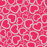Retro seamless pattern. Pink hearts and dots on beige background Royalty Free Stock Photo
