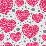 Retro seamless pattern. Pink hearts and dots on beige background Royalty Free Stock Photos