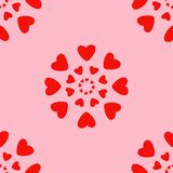 Red hearts seamless pattern. Retro seamless pattern. Pink hearts and dots on beige background Stock Images