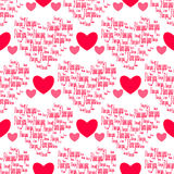 Retro seamless pattern. Pink hearts and i love you on white background Stock Image