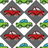 Retro seamless pattern with red and green vintage flat cars Stock Image