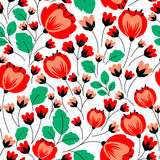 Retro seamless pattern with red poppies Stock Photo