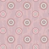 Retro seamless pattern with round flowers Royalty Free Stock Photography