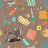 Retro seamless pattern with sewing accessories Stock Photo