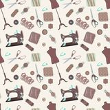 Retro seamless pattern with sewing accessories Royalty Free Stock Photos