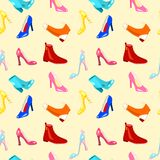 Retro seamless pattern with shoes Royalty Free Stock Images