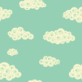 Retro seamless pattern with spiral clouds Stock Photo