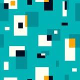 Retro seamless pattern on turquoise background. Vector illustration Stock Photo