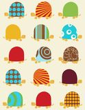 Retro seamless pattern with turtles Stock Image
