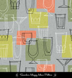 Retro seamless pattern of various outlined cocktail glasses. Vector illustration for backgrounds, paper, textiles Royalty Free Stock Images