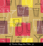 Retro seamless pattern of various outlined cocktail glasses. Vector illustration for backgrounds, paper, textiles Stock Photo